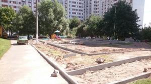 Ремонтные работы во дворе на Варшавском шоссе