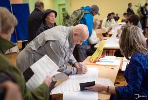 На одном из избирательных пунктов в центре Москвы